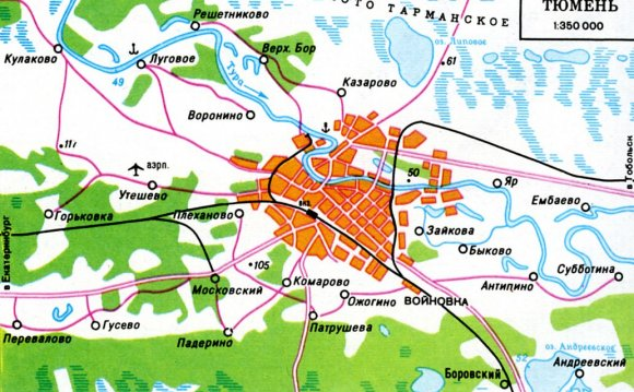 гостиницы тюмени на карте